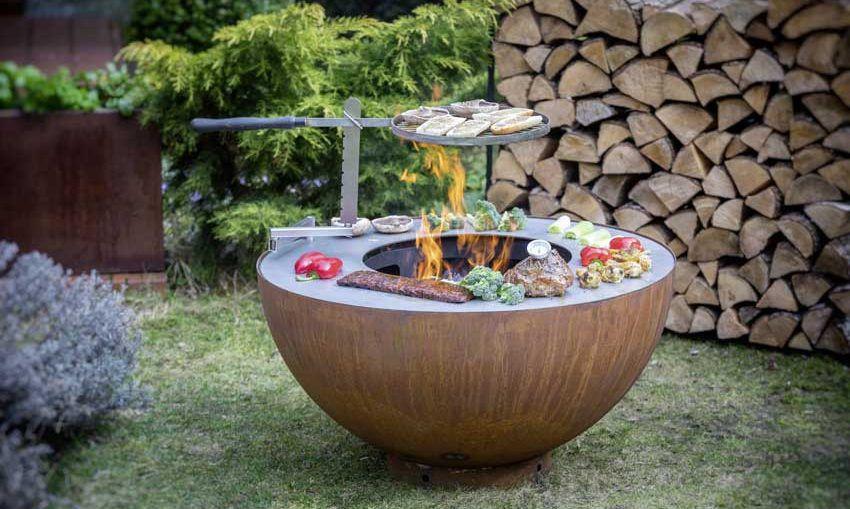 Feu Du Jardin Design-Feuerschale : mit Grillrost Boule Schwarz | eBay
